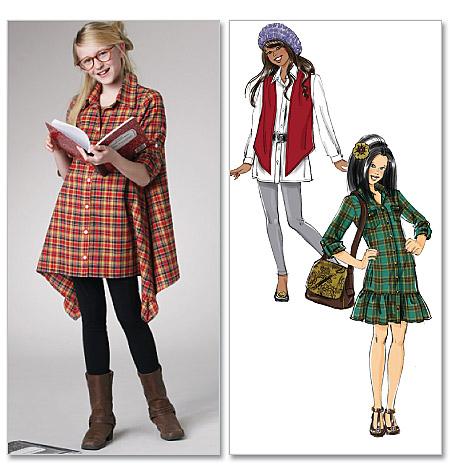 McCall's Girls'/Girls' Plus Lined Vest, Dress, Shirts 6159