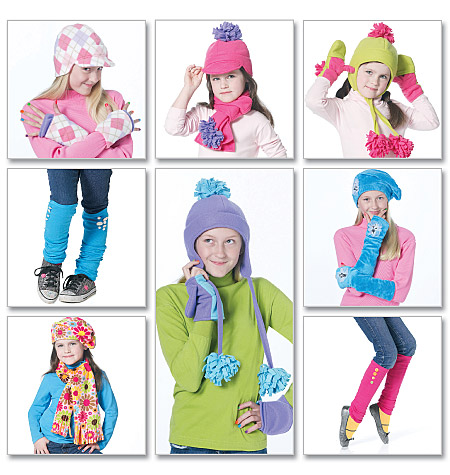 McCall's Children's/Girls' Hats, Scarves, Fingerless Gloves, Mittens and Leg Warmers 6213