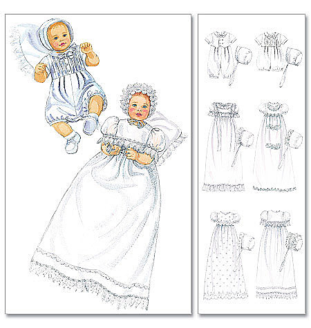 McCall's Infants' Christening Gown, Rompers With Snap Crotch In 2 Lengths and Bonnets 6221