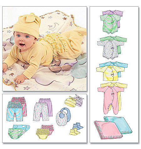 McCall's Infants' Coveralls, Top, Bodysuit, Pants, Diaper Cover, Blanket, Booties, Bib and Hat 6223
