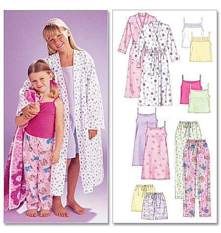 McCall's Children's/Girls' Robe, Belt, Tops, Gown, Shorts and Pants 6225