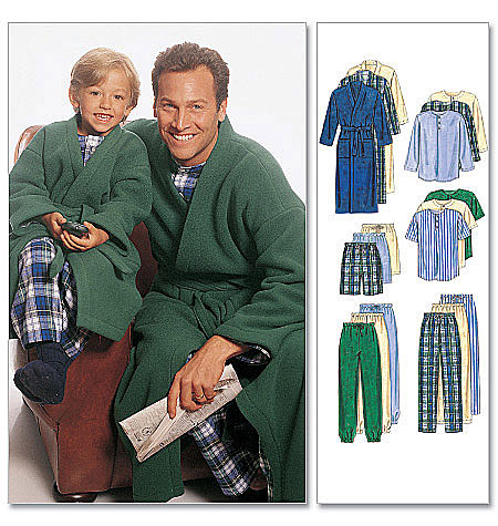 McCall's Boys'/Men's Robe With Tie Belt, Top, Pull-On Pants or Shorts 6236