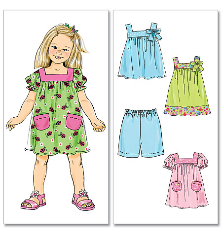McCall's girls top, dress and shorts 6261