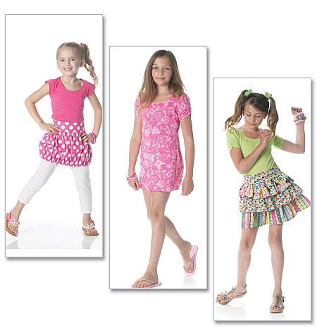 McCall's girls top, dress,skirts, and legging 6276