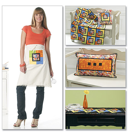 McCall's coasters, apron, runner, pillow and lap quilt 6302