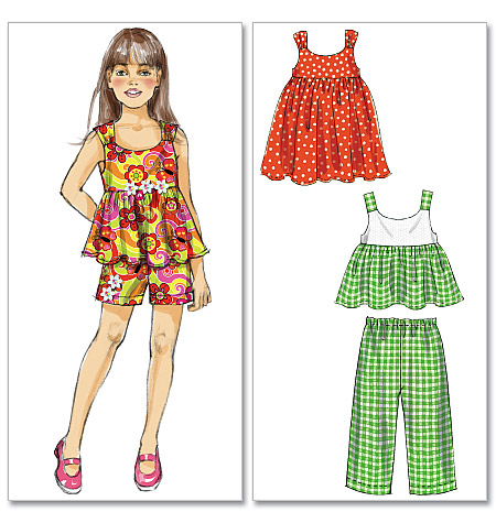 McCall's toddlers and childrens tops, dress, shorts and pants 6305