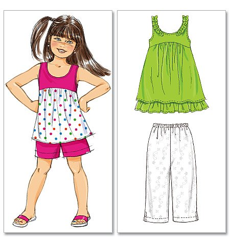 McCall's children's top, dress, shorts and capri pants 6306