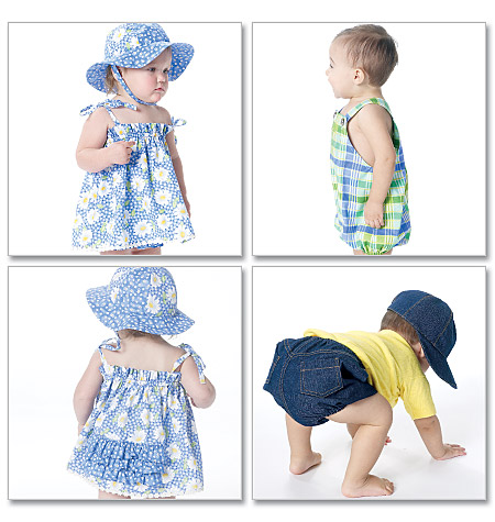McCall's infants dress,panties, romper, diaper cover and hats 6309