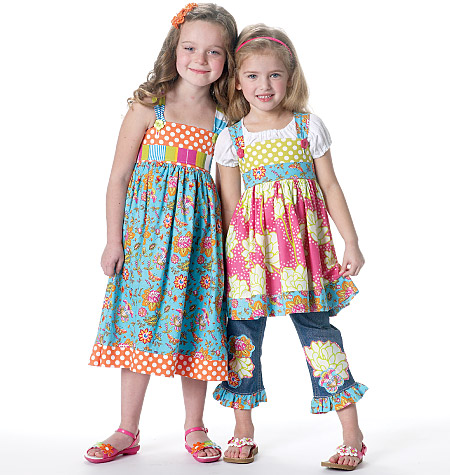 McCall's children's tops, dress, belt and ruffle for purchased jeans 6313