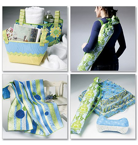 McCall's Quilt, Cushion in three sizes, Yoga Mat Carrier, Basket in two Sizes and Neck Roll 6372