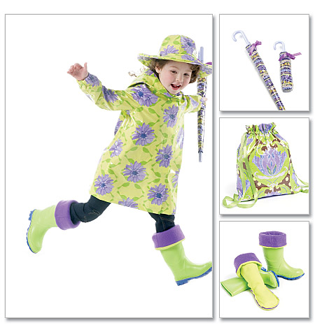 McCall's Children's/Girls' Raincoat, Hat, Boot Liners, Backpack and Umbrella Cases 6392