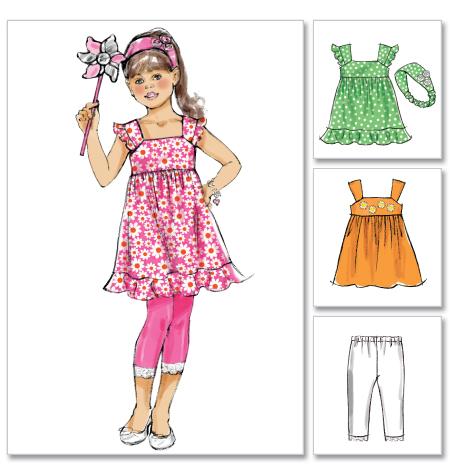 McCall's Children's/Girls' Dresses, Leggings and Headband 6487