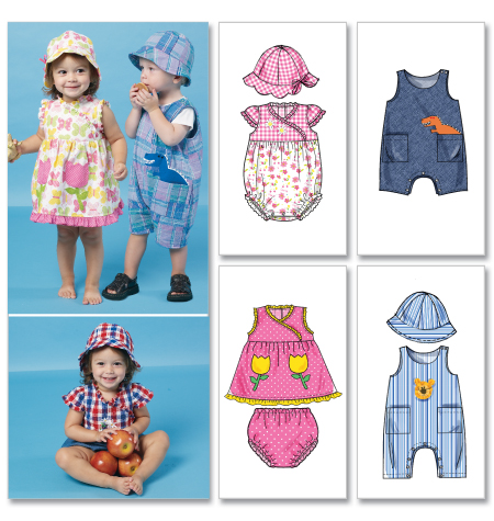 McCall's Infants' Dress, Rompers, Jumpsuit, Panties and Hats 6494
