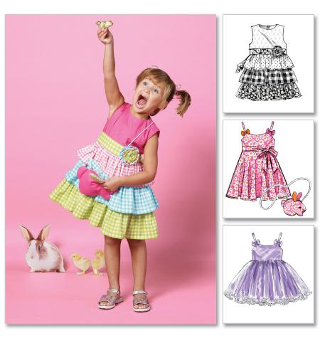 McCall's Children's/Girls' Dresses, Belt and Bag 6496