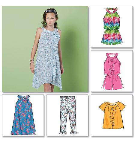 McCall's Girls'/Girls' Plus Top, Rompers, Dresses and Leggings 6501