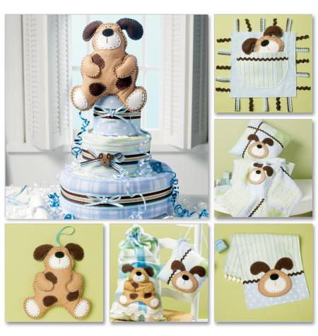 McCall's Burp Cloth, Pillow In 2 Sizes, Blanket, Toys, Sack, Dog Decoration and Diaper Cake 6524