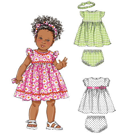 McCall's Infants' Lined Dresses, Panties and Headband 6535