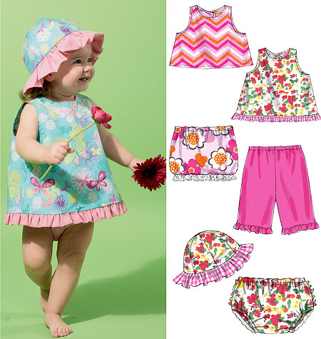 McCall's Infants' Tops, Skirt, Pants, Panties and Hat 6539
