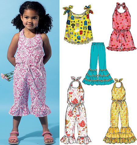 McCall's Children's/Girls' Top, Romper, Jumpsuits and Pants 6544