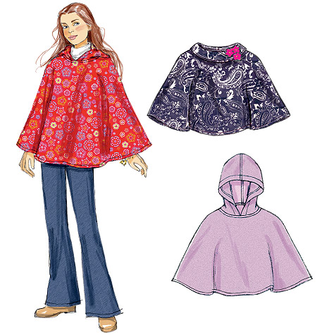 McCall's Girls' Ponchos 6584