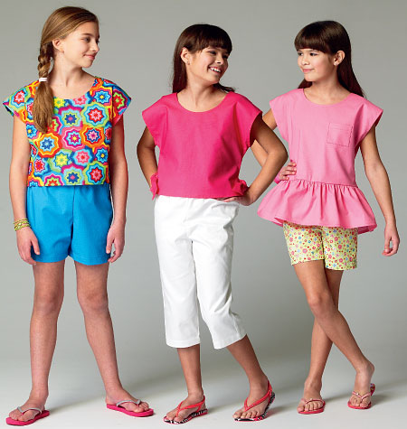 McCall's Children's/Girls' Tops, Shorts and Pants 6917