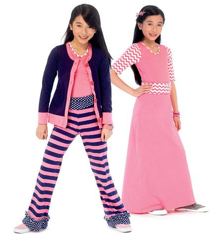 McCall's Girls'/Girls' Plus Cardigan, Top, Skirt and Pants 6985