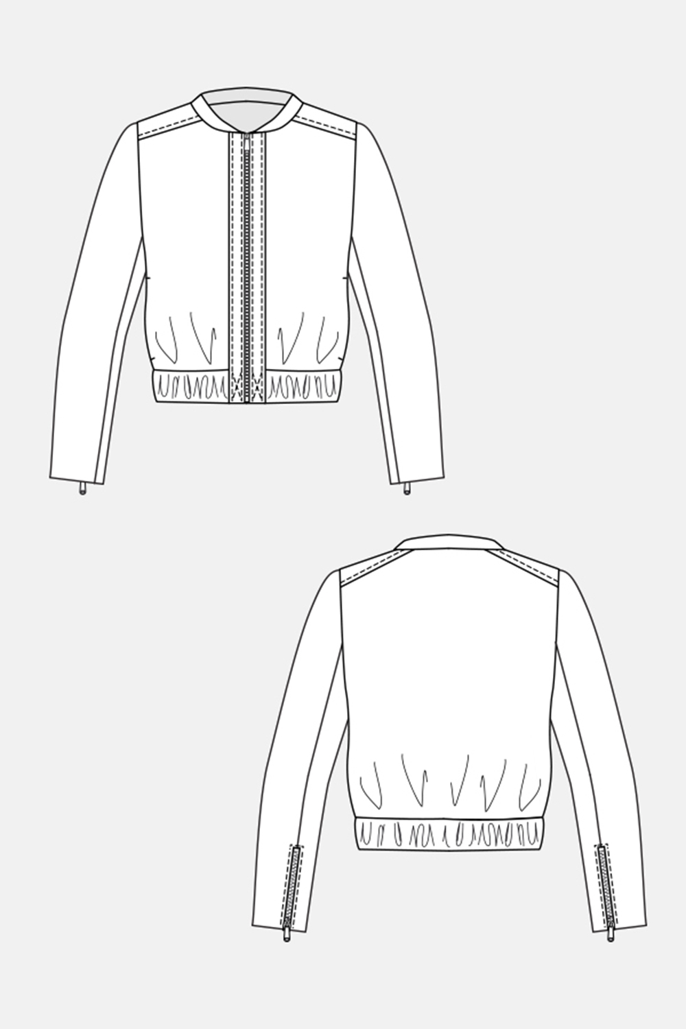 Line Drawing Of Zipper : Named clothing mai zip jacket downloadable pattern