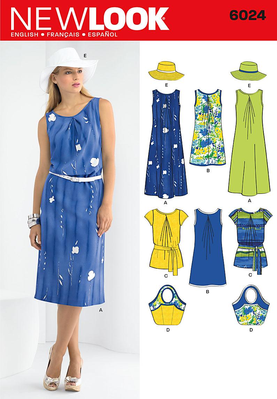 New Look Misses' Dresses. Hat & Bag 6024