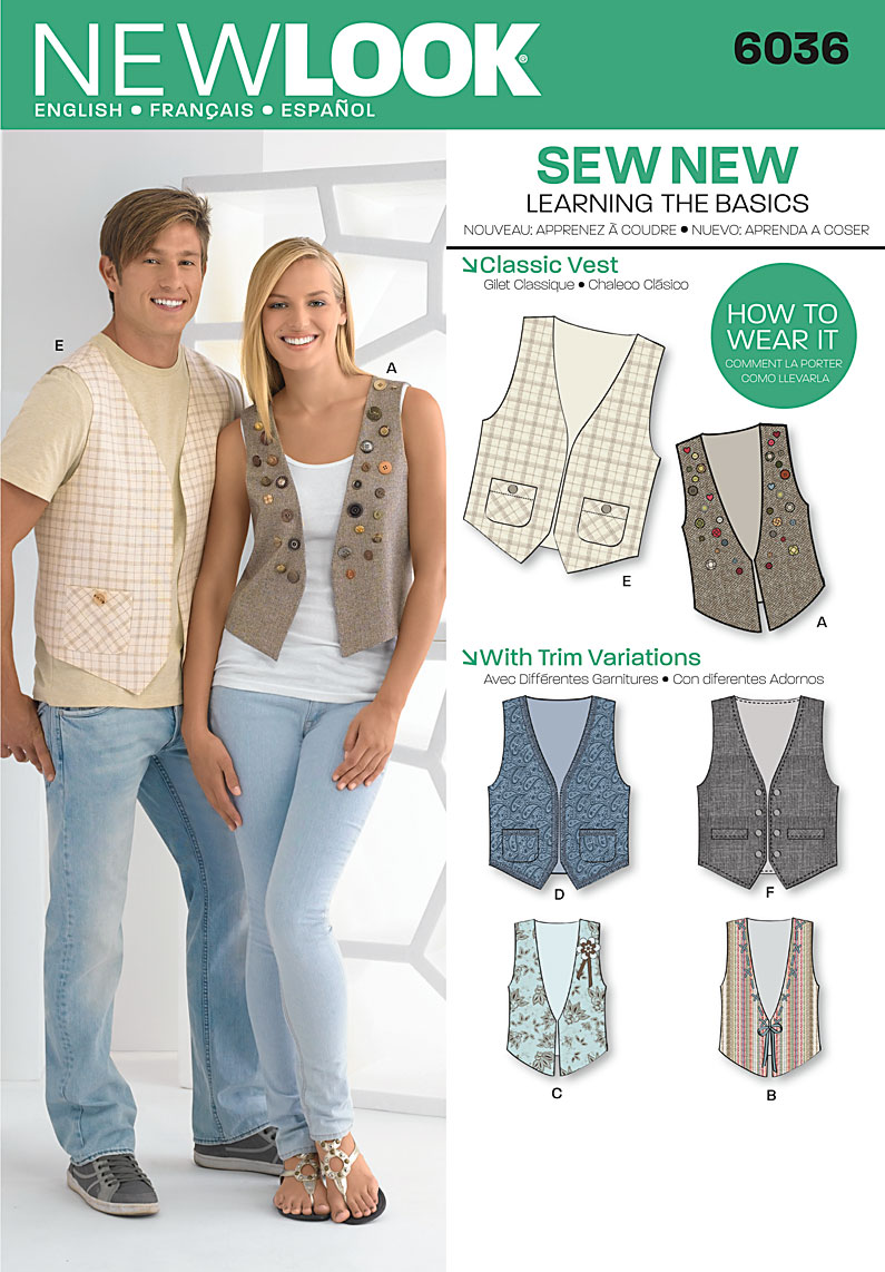 New Look  Misses' & Men's Vests 6036