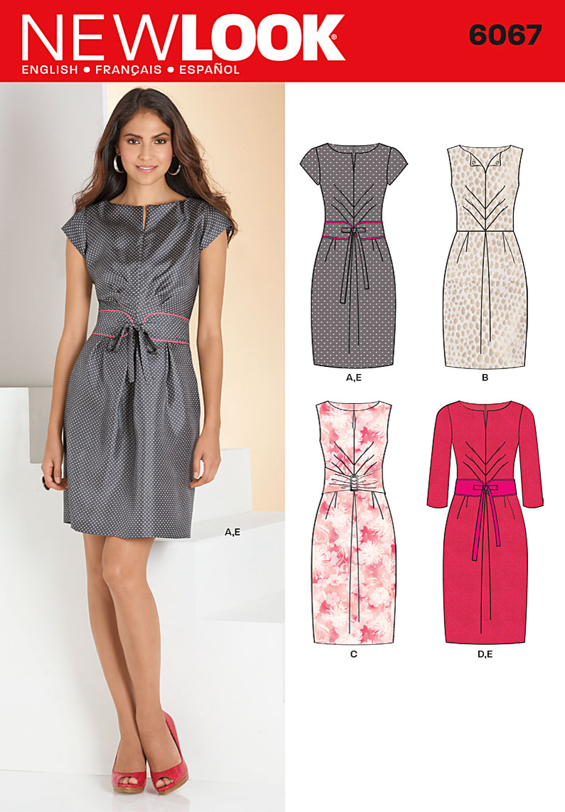 New Look Misses' pleated dress in two lengths with sleeve and belt variations.   6067