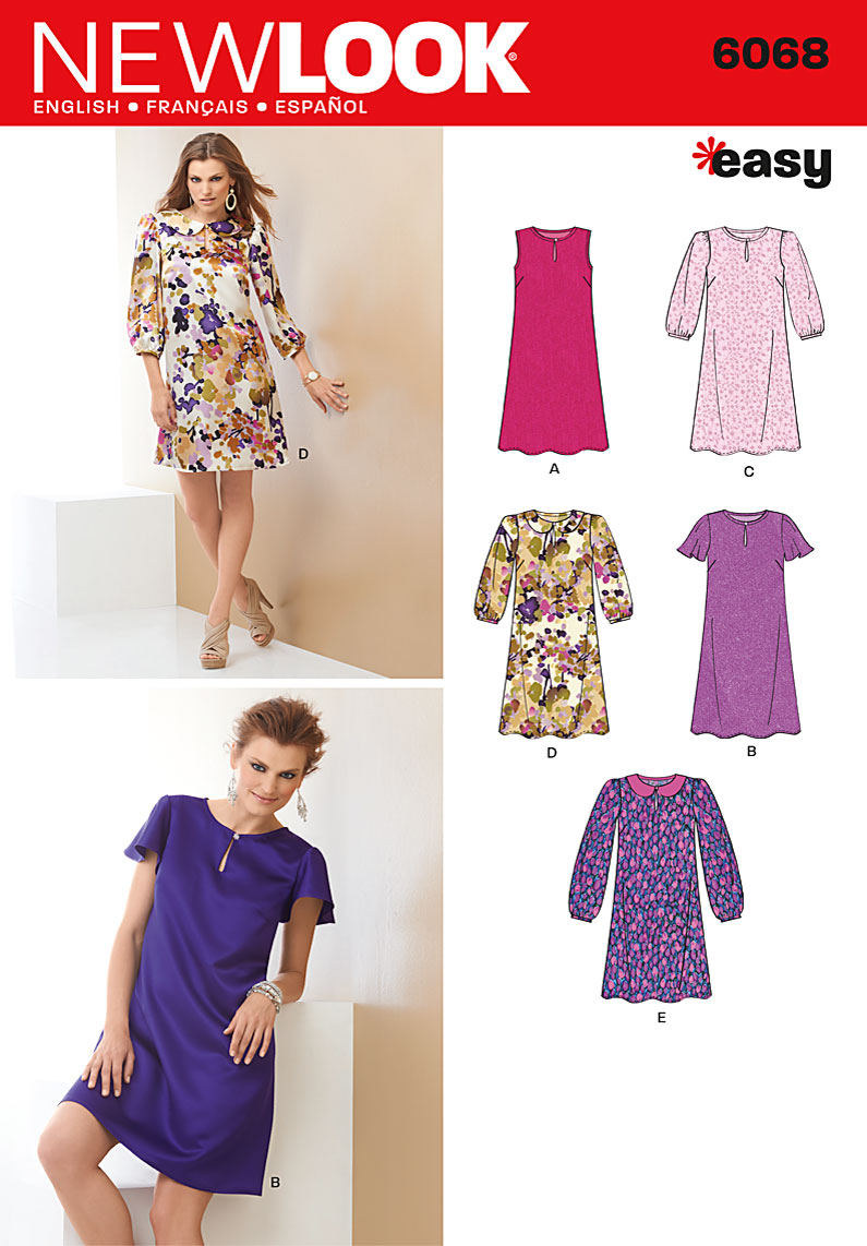 New Look Misses' pull-over dress with sleeve variations.  6068