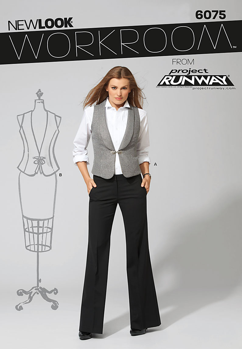 New Look Workroom from Project Runway, misses' vest with collar variations 6075