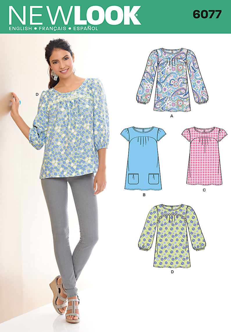New Look Misses' tunic or top in two lengths with sleeve variations. 6077