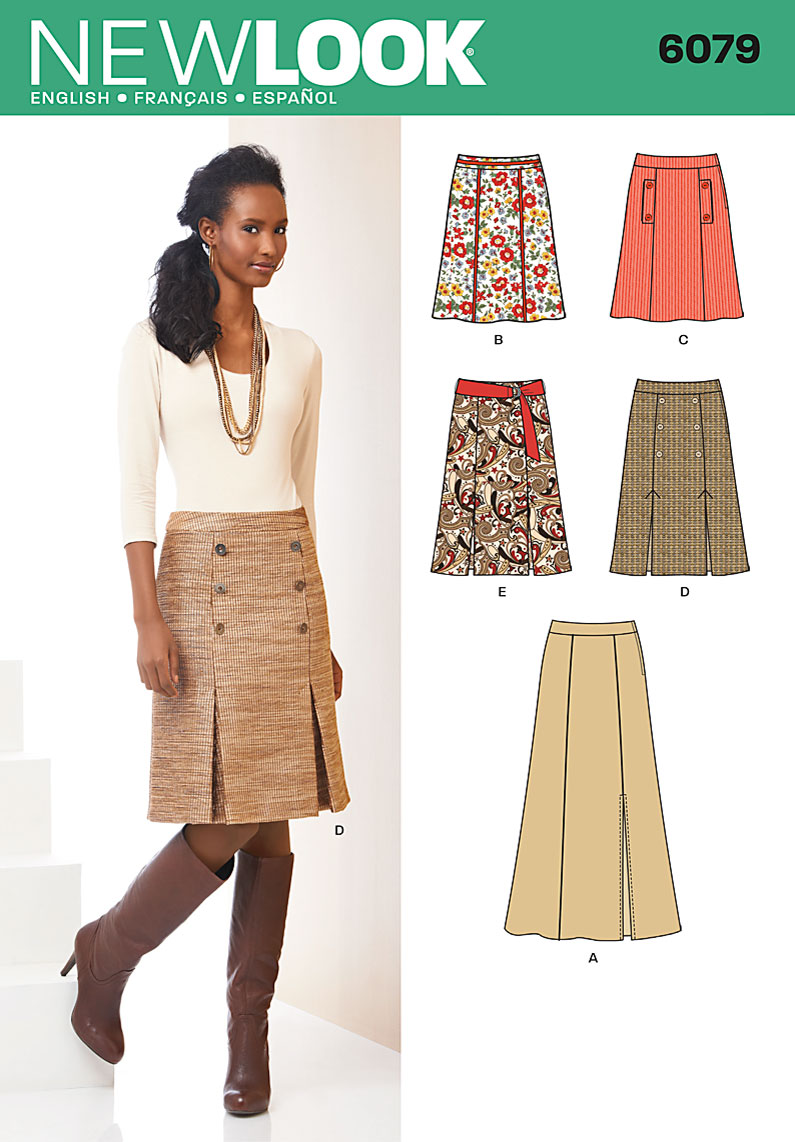 New Look Misses' skirt in three lengths and belt 6079