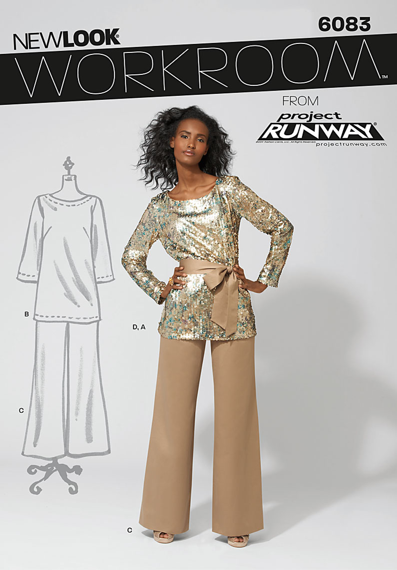 New Look Project Runway Misses' pants, top and sash. 6083