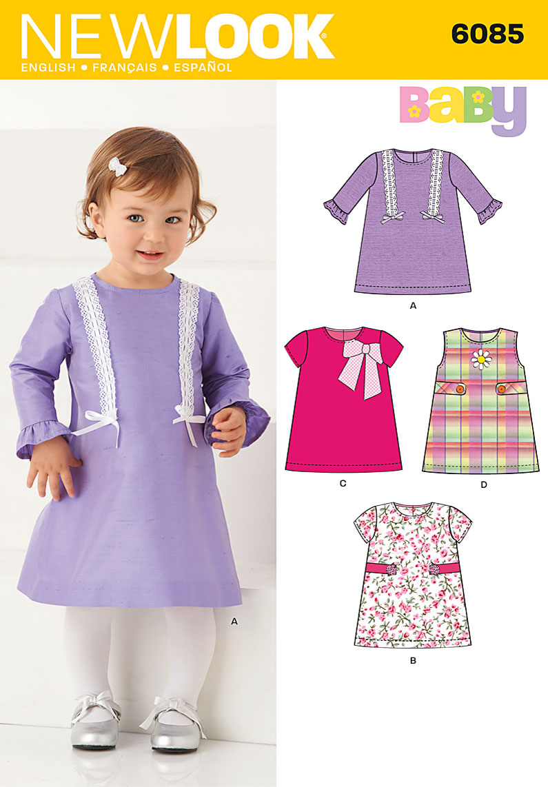 New Look Babies' long or short sleeve dress or jumper with trim variations