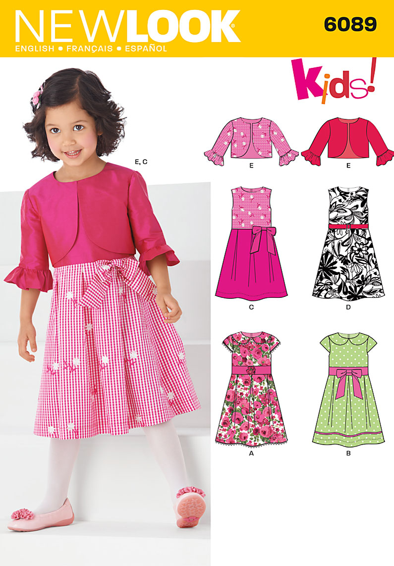 New Look Child's sleeveless special occasion dress with trim and collar variations and bolero jacket. 6089