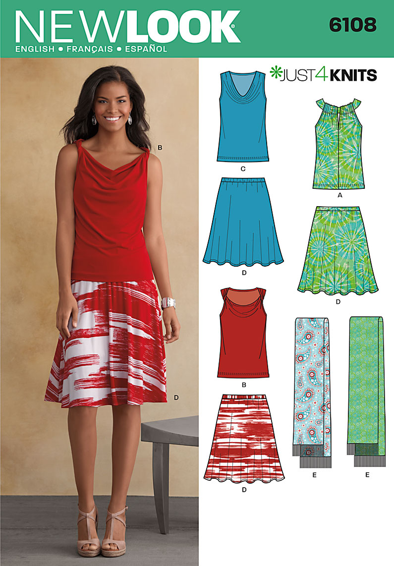 New Look top, skirt, and scarf 6108