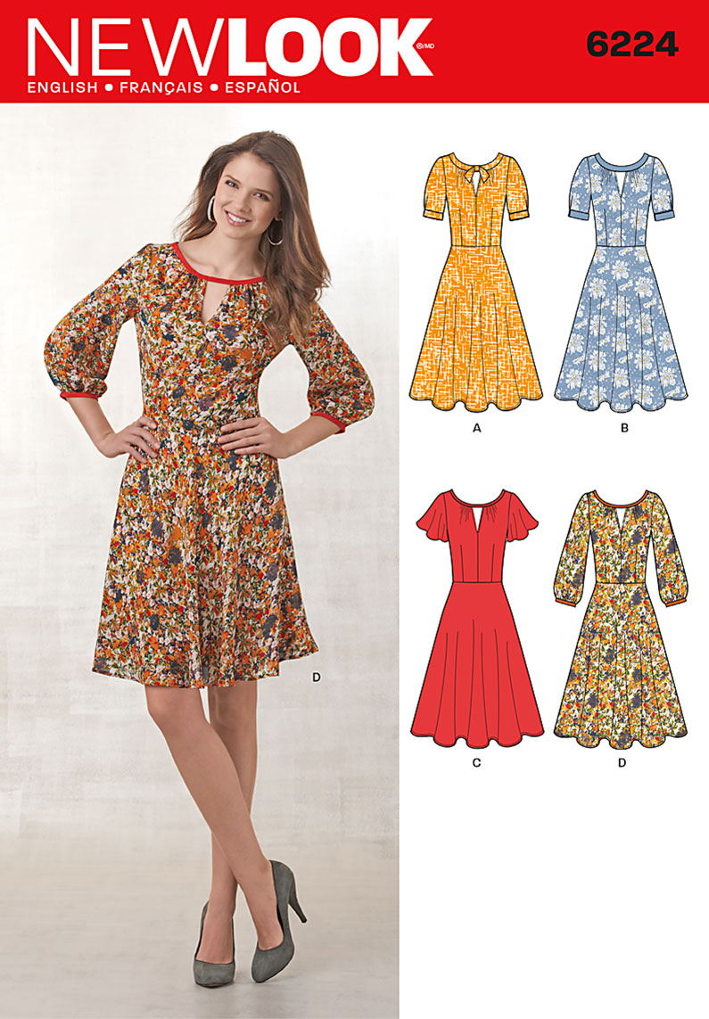 New Look Misses' Dress with Sleeve Variations 6224