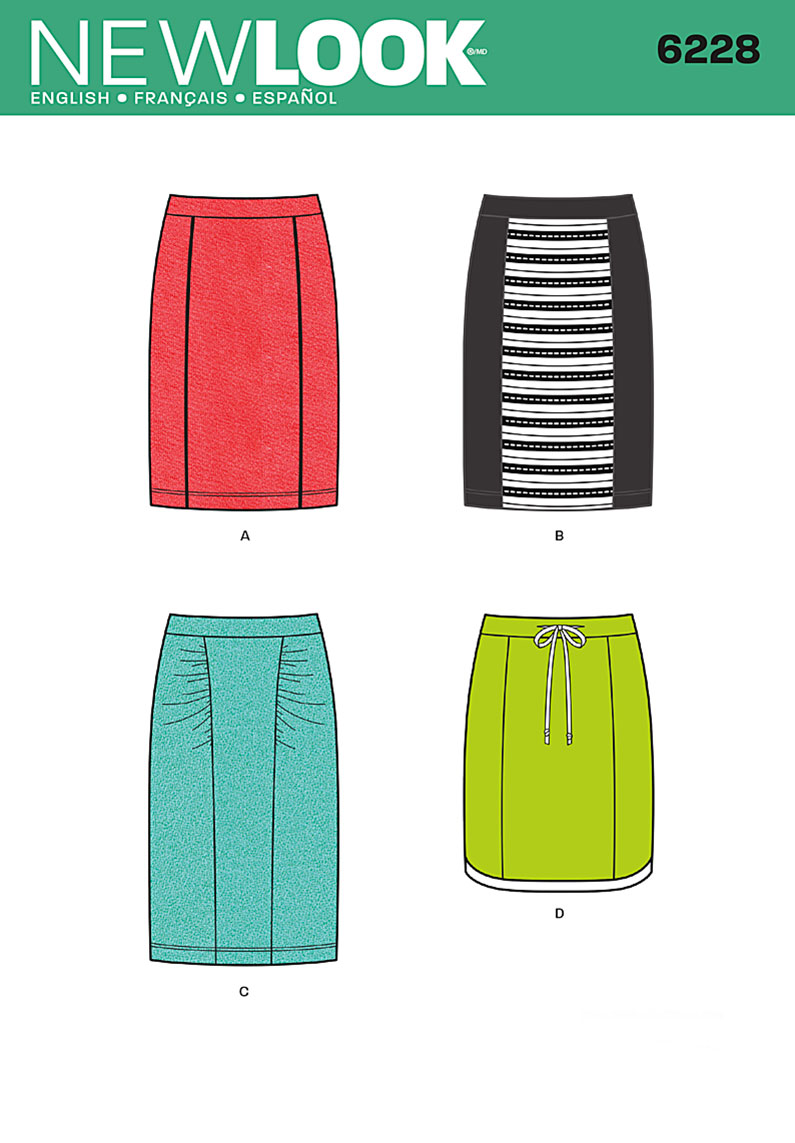 New Look Misses' Knit Pencil Skirt 6228