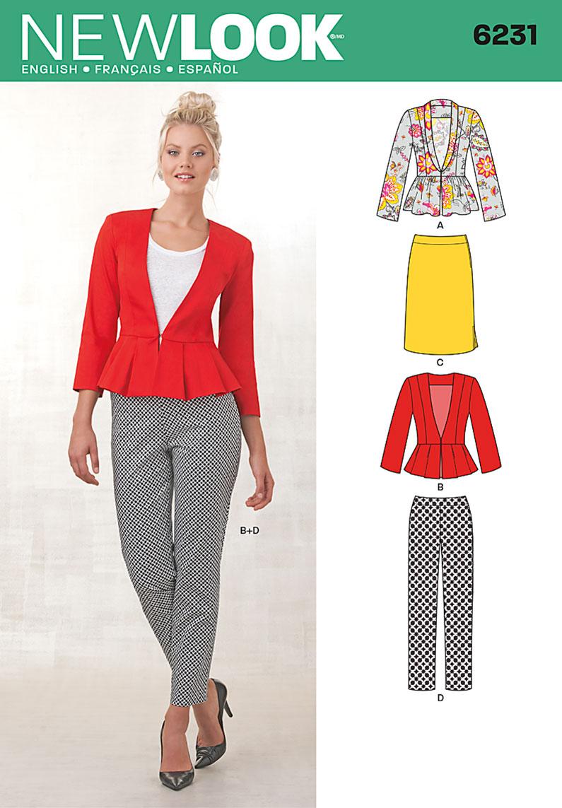 New Look Misses' Skirt, Pants & Peplum Jackets 6231