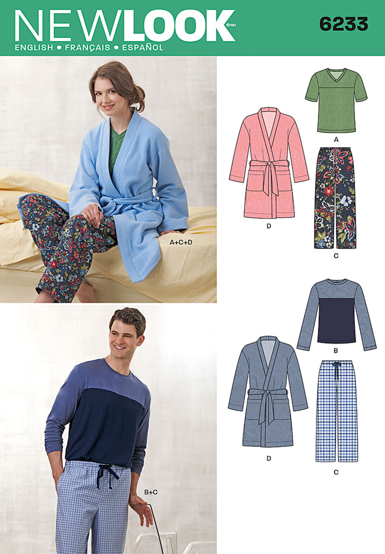 New Look Unisex Pants, Robe and Knit Tops 6233