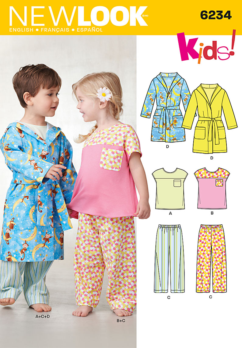 New Look Toddlers' Top, Pants and Robe 6234