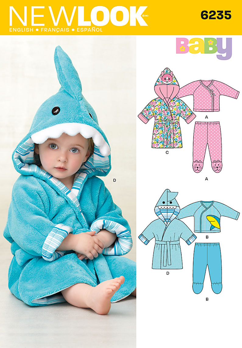 New Look Babies' Robe, Knit Pants and Top 6235