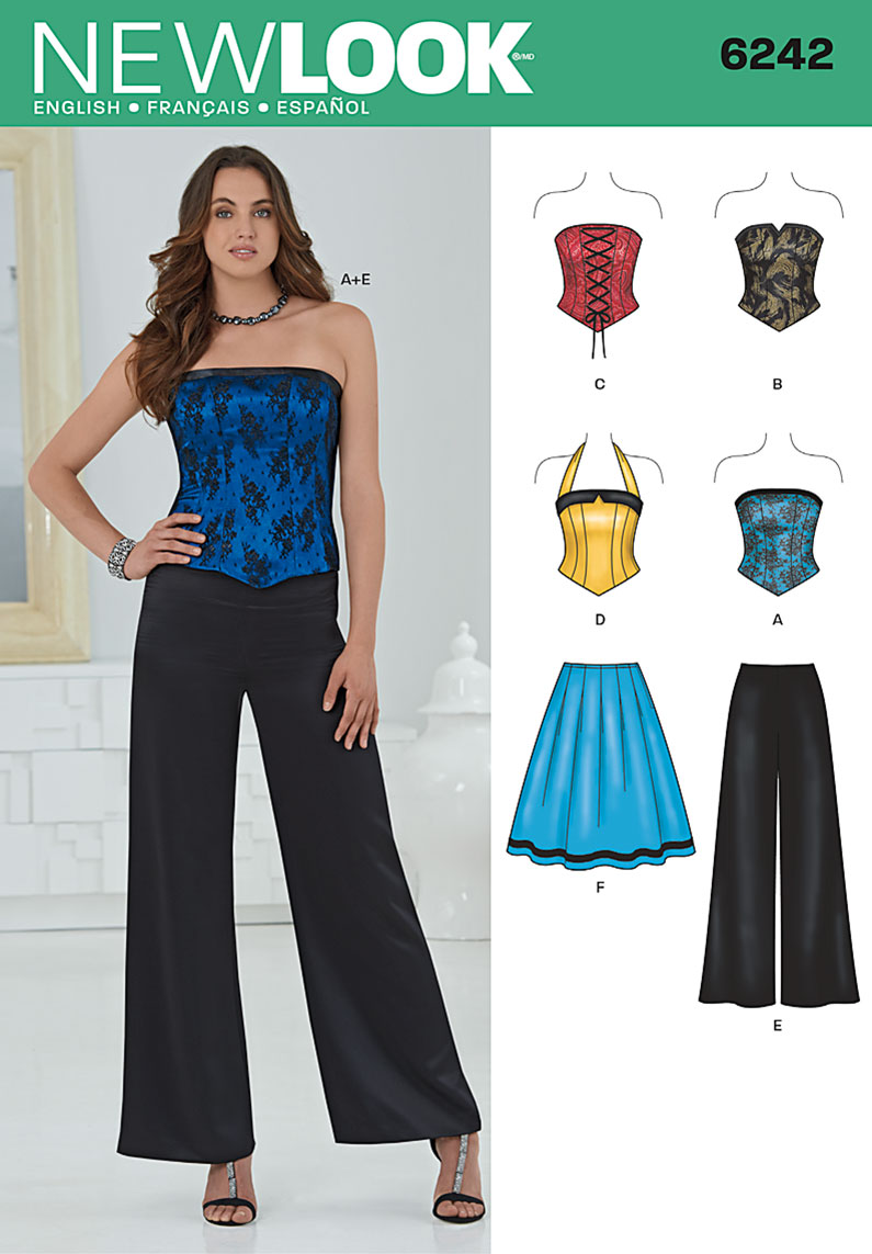 New Look Misses' Corset Top, Pants and Skirt 6242