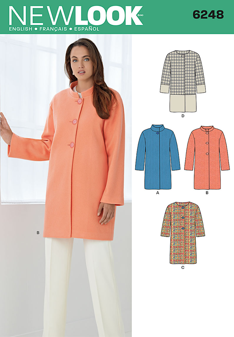 New Look Misses' Coat with Two Sleeve Lengths 6248