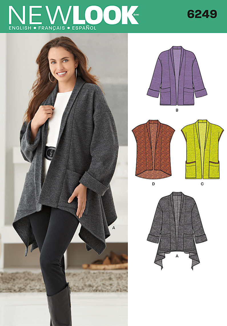 New Look Misses' Jacket with Length Variations & Vest 6249