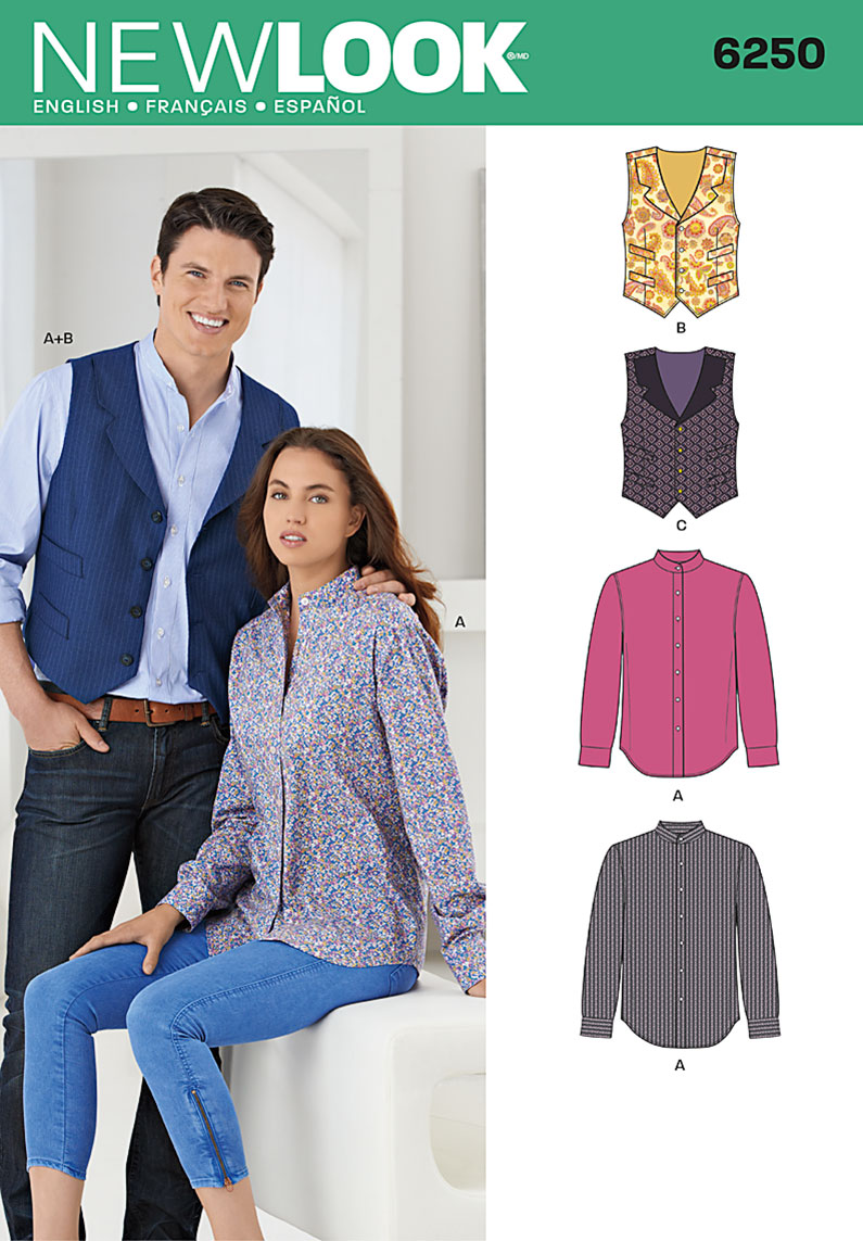 New Look Misses' and Men's Shirt and Vest 6250