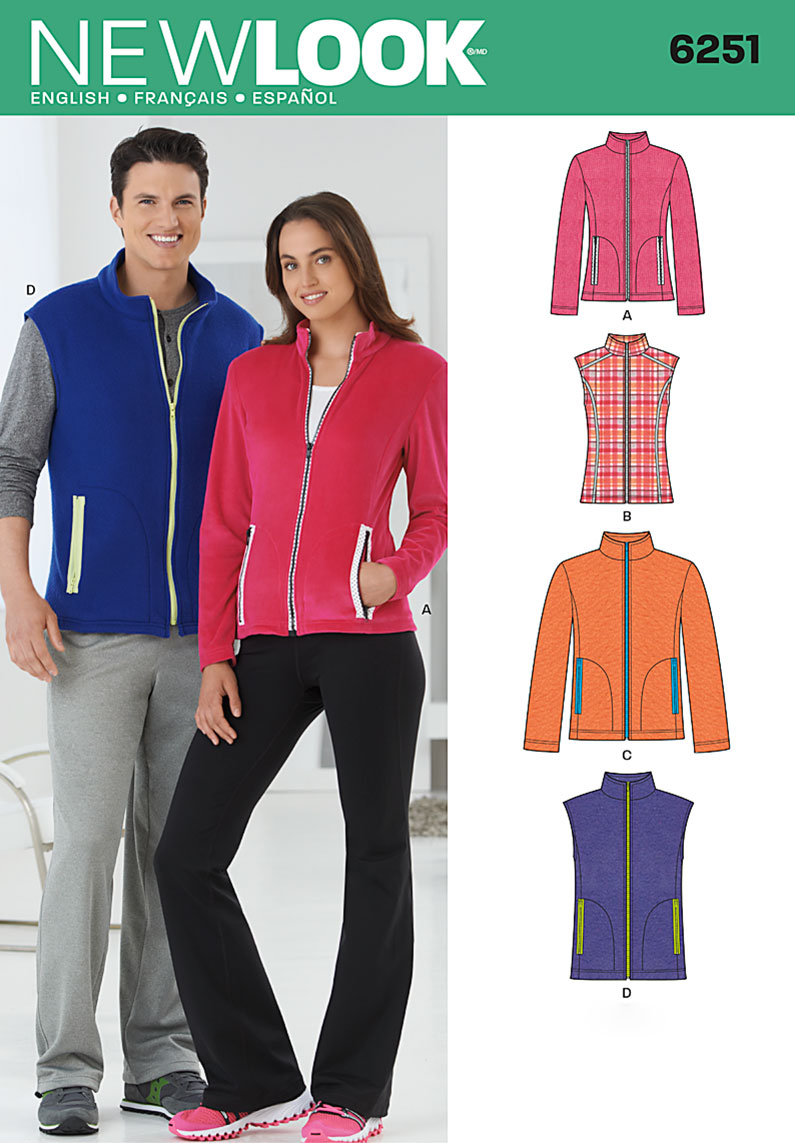 New Look Misses' and Men's Jacket or Vest 6251