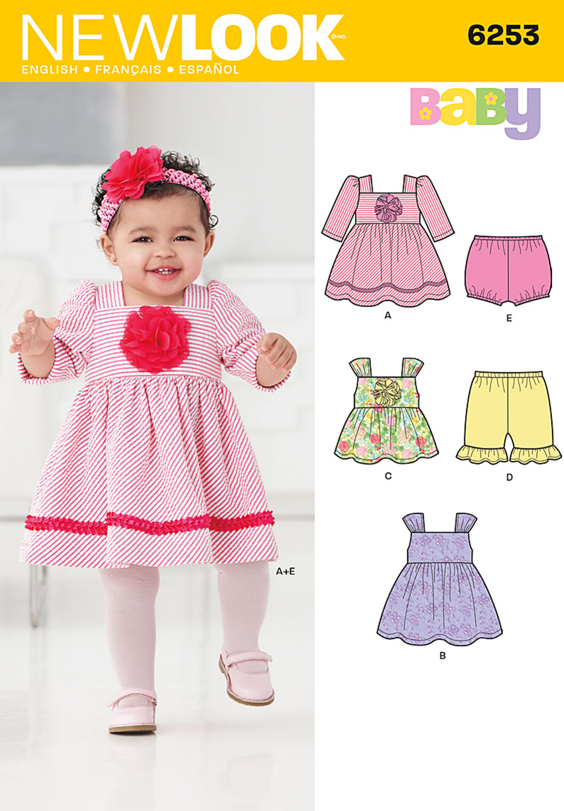 New Look Babies' Dress, Top, Diaper Cover and Pants 6253